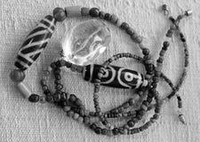 Black beads necklace. Necklace and pendant Amulet dZi Bead Nepal Style Stock Images