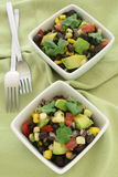 Black bean avocado salad. Black bean salad with avocado, corn, tomato, red onion and cilantro in vertical format Stock Images