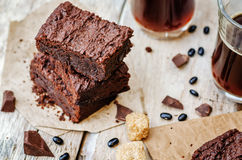 Black bean brownies. On a white wood background. the toning. selective focu Royalty Free Stock Image