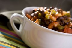 Black Bean Chili. Chili with Black Beans, Tomatoes, Onions, Bell Peppers and Tomato Sauce Stock Photos
