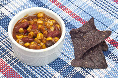 Black Bean Dip with Blue Corn Tortilla Chips Stock Photo