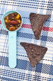 Black Bean Dip with Blue Corn Tortilla Chips Royalty Free Stock Photography