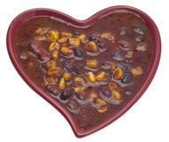 Black Bean Dip in a Heart Shaped Bowl Stock Photo