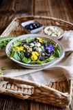 Black bean pasta salad with leafy greens, olives, green peas, sheep cheese and edible flowers. Vegetarian black bean pasta salad with leafy greens, olives, green royalty free stock photos