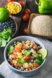 Black bean quinoa salad and ingredients royalty free stock photos