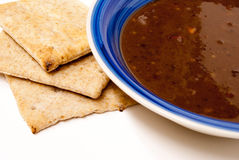 Black Bean Soup with Pita Bread Stock Image