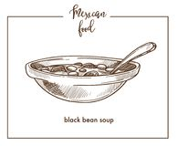Black bean soup sketch vector icon for Mexican cuisine food menu design Stock Image