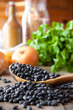 Black beans. In a wooden spoon with cilantro and onions in the background Stock Photography