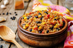 Black beans, quinoa and corn chili Stock Photos