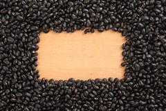 Black beans with rectangular, copy space Stock Photo