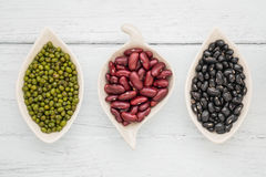 Black beans, red beans and mung beans Stock Photos