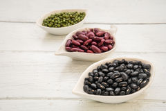 Black beans, red beans and mung beans Royalty Free Stock Photography