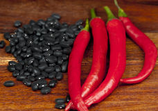 Black beans and red peppers Royalty Free Stock Photos