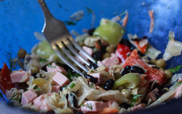 Black beans, sauages and vegetable salad close up Stock Images