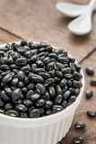 Black beans in white bowl Stock Photos