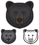 Black Bear Face. Illustration of black bear faces in color, grayscale and black and white Stock Images