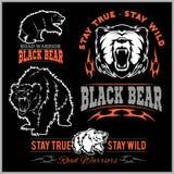 Black bear for logo, sport team emblem, design elements and labels Stock Photos
