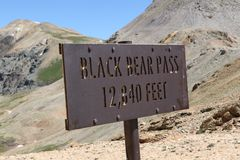 Black Bear Pass Summit Elevation Marker royalty free stock image