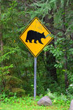 Black bear road crossing sign Royalty Free Stock Photos
