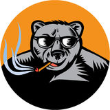 Black Bear Sunglasses Cigar Circle Woodcut Stock Photography