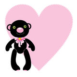 Black bear toy with heart Royalty Free Stock Image