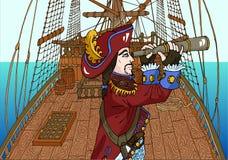 Black Beard Pirate Captain On Sailing Ship Deck Royalty Free Stock Photo