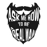 Black Beard silhouette with concept phrase inside Stock Images