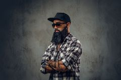 Black bearded male posing over grey background. stock image