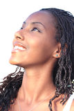 Black beautiful woman. Close-up of a coloured beautiful woman smiling royalty free stock photos