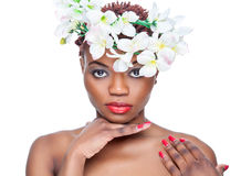 Black beauty with with a crown of flowers Royalty Free Stock Images