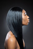 Black beauty with long straight hair Stock Photos