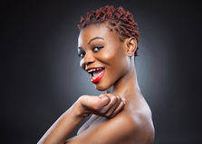 Black beauty with short spiky hair Royalty Free Stock Photography