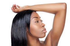 Black beauty with straight hair Stock Image