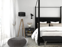 Black bed in a white room Royalty Free Stock Image