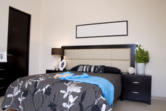 Black Bedroom. With gray bedspread and flowers Stock Photo