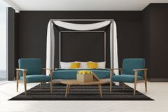 Black bedroom, blue armchairs. Black bedroom interior with a blue master bed, white and yellow pillows, a panoramic window, a carpet and two blue armchairs Royalty Free Stock Photos