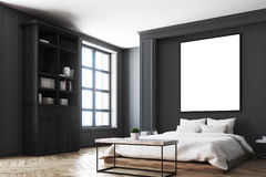 Black bedroom interior, poster corner Stock Photos