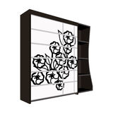 Black bedroom wardrobe with cells.Wardrobe with a beautiful rose on the door.Bedroom furniture single icon in cartoon Stock Images