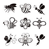 Black bee icons Royalty Free Stock Photos