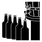 Black beer bottles filling up icon. Illustration Stock Photo
