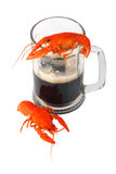 Black beer and crawfish Stock Photos