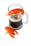 Black beer and crawfish Stock Photos