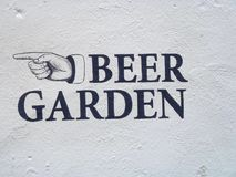 Beer Garden sign on white textured wall. A black Beer Garden sign painted onto a white texured contrete wall Stock Photography