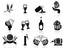 Black beer icons set Stock Image