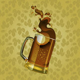 Black beer mug with splash. Over sepia background Royalty Free Stock Photos