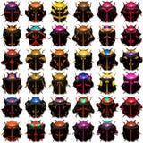 Black Beetles. Rows of black beetles on white Stock Photography