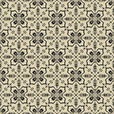 Black on beige floral pattern seamless background Royalty Free Stock Images
