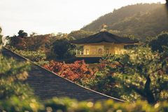 Black and Beige Pagoda Surrounded by Trees Near Mountain during Daytime Stock Photography
