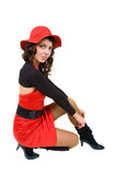 black beklär rött kvinnabarn Royaltyfria Foton