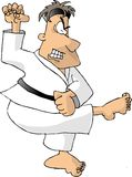 Black belt. This illustration that I created depicts a man in a karate outfit with a black belt doing a kick Royalty Free Stock Photo
